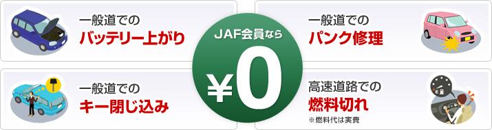 一般道でのバッテリー上がり、一般道でのキー閉じ込み、一般道でのパンク修理、高速道路での燃料切れ(※燃料代は実費) JAF会員なら¥0
